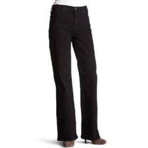 NYDJ High Rise Tummy Tuck Wide Leg Black Jeans 8